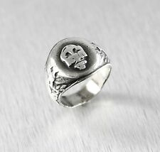 Vintage Sterling Silver United States Navy Skull Ring Size:8.75