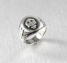 Vintage Sterling Silver United States Navy Skull Ring Size:8.75