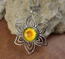 Sunflower Snap button Large silver flower w/silver necklace gifts women jewelry