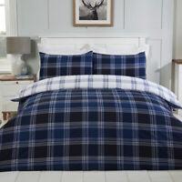 Checked Navy Reversible Duvet Cover Bedding Set & Pillowcases Single Double King
