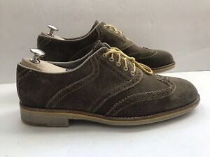 Johnston & Murphy Lace Up Wingtip Shoes Brown Suede Men's Size 9.5 M