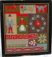 Small Late 19Th Century Wool Block Sampler Of A Man - Woman &.Dogs,Cats,Etc.Rare