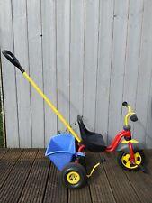 Puky Dreirad Kinderdreirad mit Handbremse, Mulde und Schiebestange Rot Blau Gelb