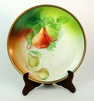 """Antique Hutschenreuther Selb Bavaria Plate 8"""" Hand Painted Pears Artist Signed"""