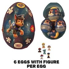 1 New Jumbo Egg With 6 PAW PATROL PLASTIC SURPRISE EGGS WITH Toy Figure Per Egg