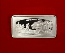 1980 1000 Grain Franklin Mint Christmas Ingot of Solid Sterling Silver