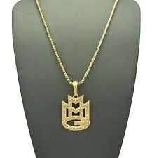 "ICED OUT MMG MUSIC GROUP RICK ROSS WALE MEEK MILL PENDANT W/ 24"" BOX CHAIN MM004"