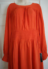 BNWT MARKS & SPENCER COLLECTION BRIGHT ORANGE UNLINED DRESS SIZE 22 RRP £59.00
