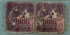 Couple Joueurs des cartes Atrr. à Fraget & ViretStereo Vintage Albumine ca 1860