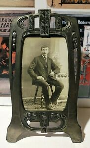 Small Beautiful Early 20th c. Art Nouveau Jugendstil Metal Picture Frame