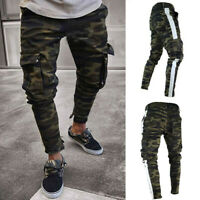 Mens Skinny Stretch Denim Pants Pleated Ripped  Slim Fit Sport Jeans Trousers