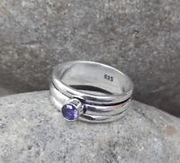 Amethyst Solid 925 Sterling Silver Spinner Ring Meditation statement Ring SR305