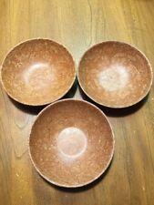 VTG BOLTALITE BOWLS set of 3 FAUX BURL MELAMINE WOOD CEREAL BOWLS USA