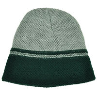 Gray Green Cuffless Knit Beanie Toque Striped Woven Hat Blank Plain Skully Thin
