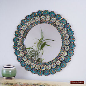 "Peruvian Wall Accent Mirror ""Turquoise Blossom""- Decorative Cuzcaja Mirror wall"
