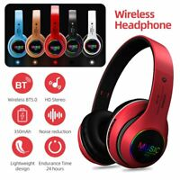 Wireless Bluetooth 5.0 Headphones Over Ear Foldable Noise Cancelling LED Headset