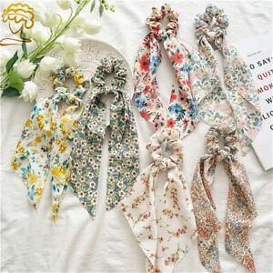 Long Ribbon Hair Tie Women Girls Printing Bow Ribbon Scrunchie Fashion Ponytail