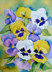 Pansies   Stillife  Original  Watercolor Vintage Flower Painting 4x6