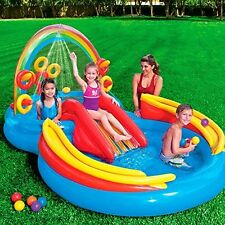 Child Pool Rainbow Ring Inflatable Summer Toy Water Slide Wading Pool Sprayer