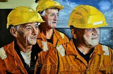 "PETE DAVIES ORIGINAL ""North Sea Deck Crew"" Offshore Aberdeen Oil Rig PAINTING"