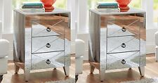 Mirrored Side Tables Nightstand Mirror Glass Accent End Living Room Storage SET2