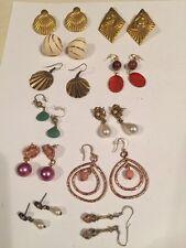 Vintage LOT Of Earrings Pierced Rhinestone Pearl Dangle Horse Shell (A15)