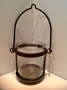 ONE Pottery Barn *Style* Hanging Lantern Hurricane Candle Holder Rubbed Bronze
