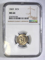 1869 Nickel Three Cent Piece NGC MS-64