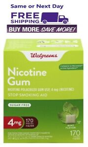 Walgreens Nicotine Gum 4mg Mint Flavor 170 Count Compared to Nicorette Exp 03/23