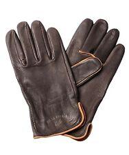 NWT Bills Khakis Men's Deerskin Leather Driving Gloves - Dark Brown Fleece Lined