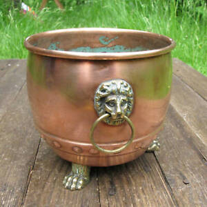 Old Copper and Brass Planter with Lion Decoration Pot