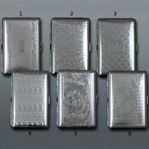 Metal Cigarette Case Slim King Size Silver For 20Pcs Embossed Tobacco Holder Box