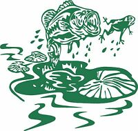 Fish Frog Lily Pad Bass Car Boat Truck Laptop Window Vinyl Decal Sticker