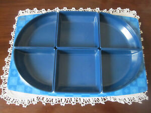 RETRO BESSEMER EUROPA BLUE MELAMINE SERVING TRAY WITH INSERTS