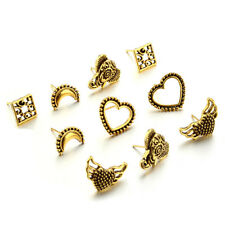 5 Pairs/Set Women Boho Antik Moon Heart Elephant Gold Sliver Earrings Ear Studs