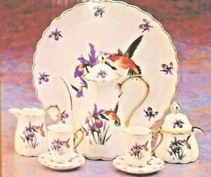GORGEOUS VINTAGE HUMMING BIRD 10 PIECE MINIATURE TEA SET, FINE PORCELAIN MIB