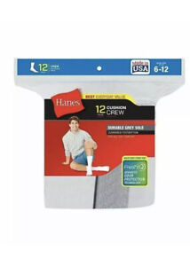 Hanes Men's Crew Socks Pack of 12 Cushion Comfort Cotton Fresh IQ size 6-12