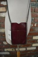 J Basic fashion red wine small cell phone holder purse chain shoulder strap bag