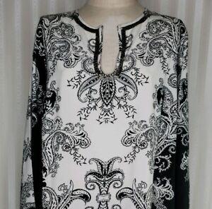 Roamans Womens Plus Sz 18W Beaded Caftan Tunic Dress Ivory Black Paisley Slits