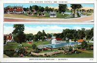 Bel Air Maryland Del Haven Hotel Cabins Roadside Linen 1930s Postcard Harford
