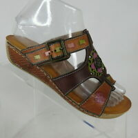 L'Artiste Spring Step Gaiton Cam Hand Painted Wedge Slide Sandal Womens US 6.5-7