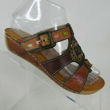 L'Artiste Spring Step Gaiton Cam Hand Painted Wedge Slide Sandal Womens US 6.5-7
