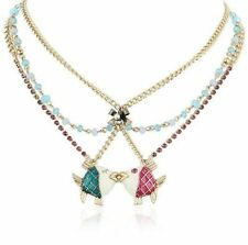 Betsey Johnson Jewels Of The Sea Kissing Fish Pendant Triple Gold-Tone Necklace