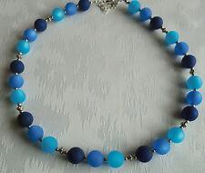 Perlen Kette Halskette Collier Polarisperlen blau türkis dunkelblau Silber NEU