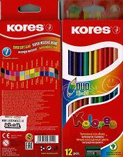 Duo-Buntstifte von KORES 12 Stifte mit 24 Farben inkl. Gold und Silber metallic
