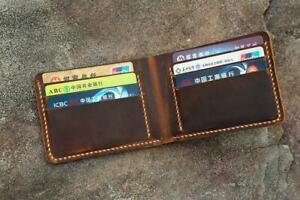 Personalized retro leather slim bifold wallet Minimalist mens billfold wallet