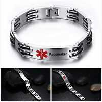 Pacemaker Pace Maker Medical Alert Bracelet Stainless Steel Chain Curb Heart