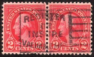 1926 US, 2c pair, Used, Washington, Good cancel, Sc 634, VF