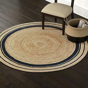 Rug 100% Natural Jute 3x3 Feet Bohemian Reversible Area Dhurrie Carpet Mat Rugs