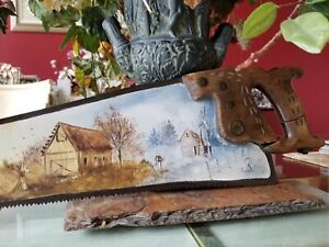 Vintage Hand Painted Warranted Saw-Signed Folk Art Saw Blade - The Four Seasons